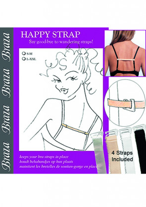 Braza Happy strap 4-pack beige, sort, hvid, clear