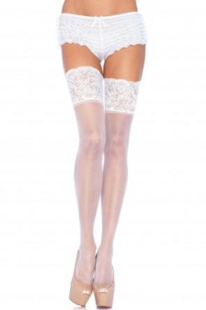 Wide Lace Stayups - White