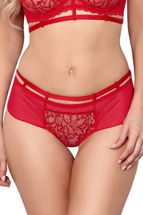 Miami Vibe Flower Lace - Brazilian Thong Red