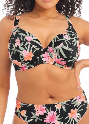 Elomi Swim Dark Tropics bikiniöverdel plunge F-N-kupa mönstrad