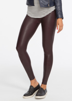 Spanx Deep Garnet faux leather leggings S-XL vinrød