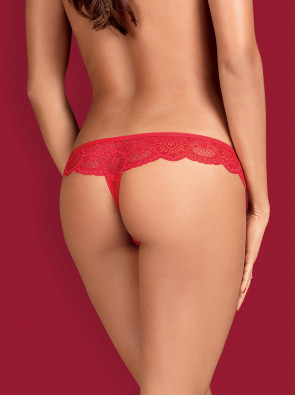 Mesh and Lace thong red